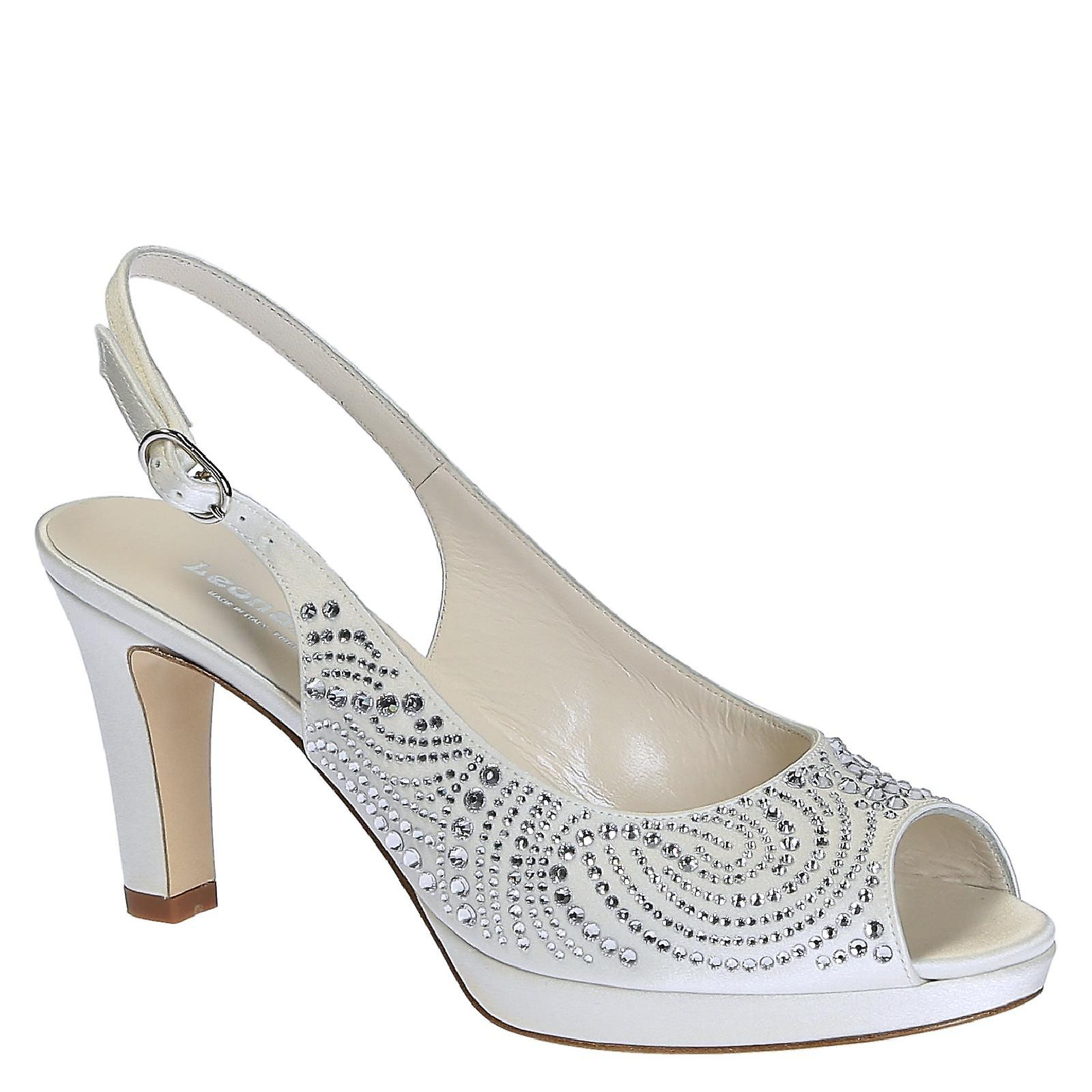 In Leather Heels With Pumps Wedding Slingback White High Open Toe QdCsthr