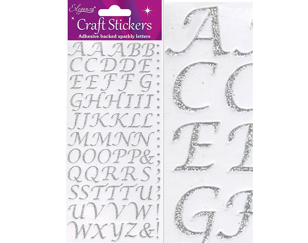 Silver Glitter Stylised A to Z Alphabet Letter & Symbol Stickers for Crafts