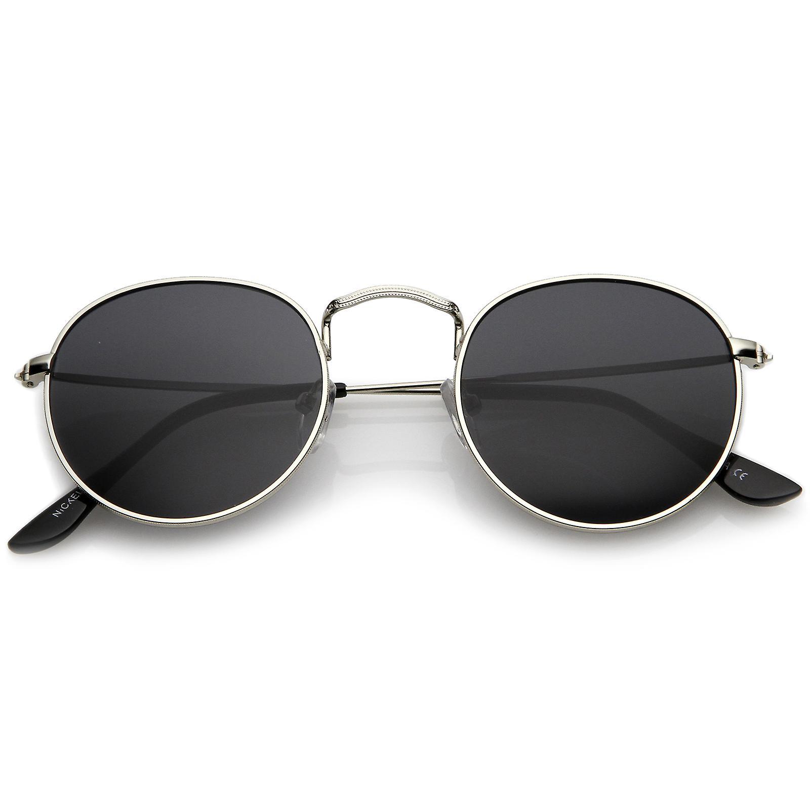 Classic Full Metal Frame Slim Temple Round Sunglasses 45mm | Fruugo
