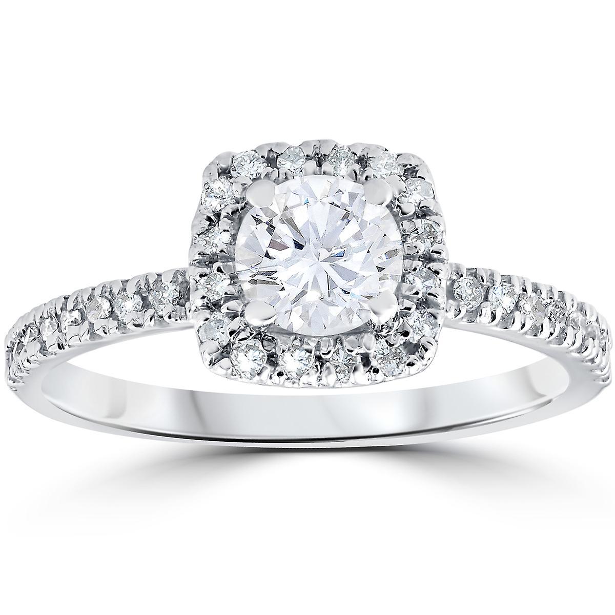 1 2ct Diament Poduszka Halo Pierścionek Zaręczynowy 10k Białego