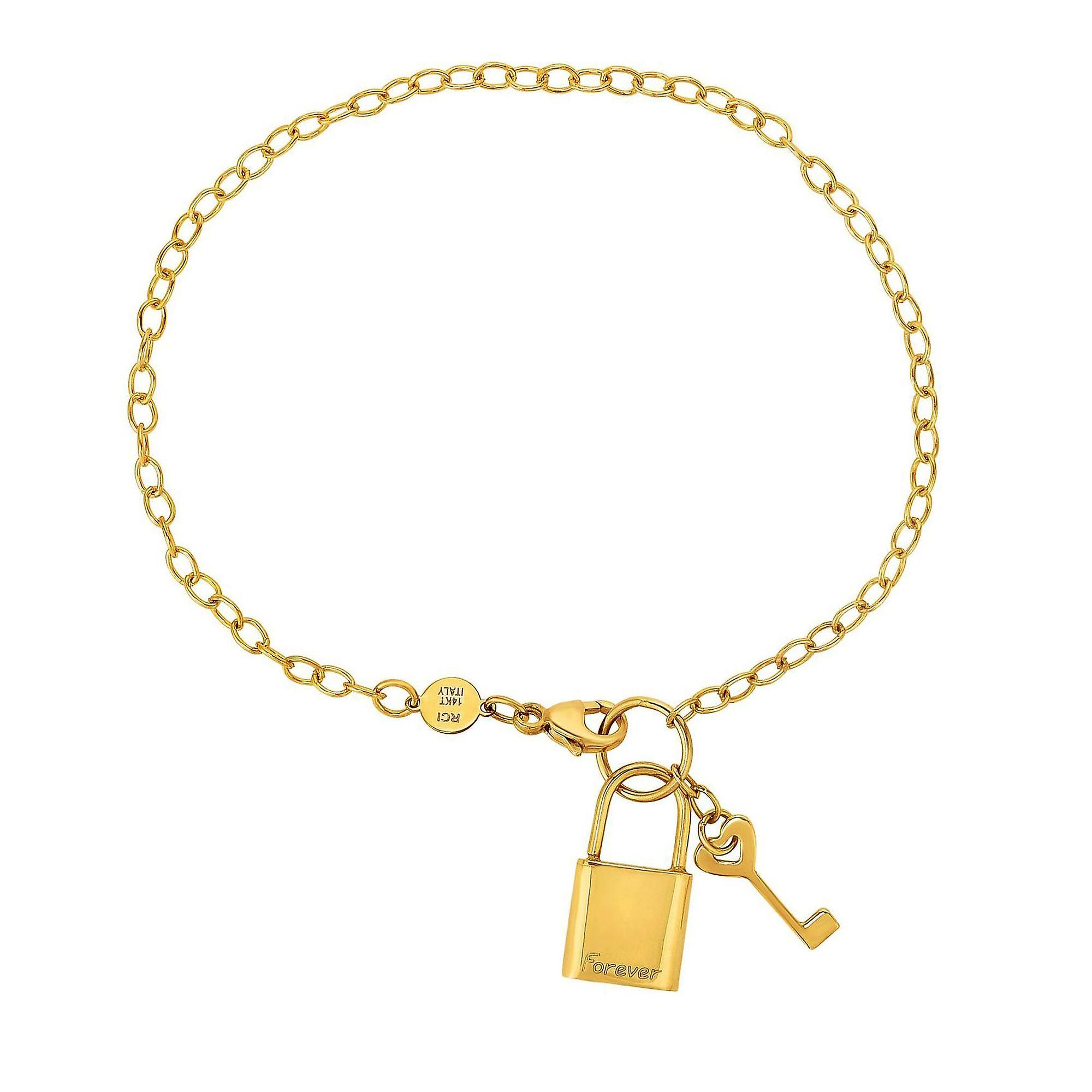 14k Yellow Gold Chain Lock And Key Bracelet, 7 5