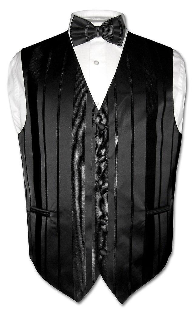 dd9650917ad0 Men's Dress Vest & BOWTIE Woven Striped Design Bow Tie Set | Fruugo