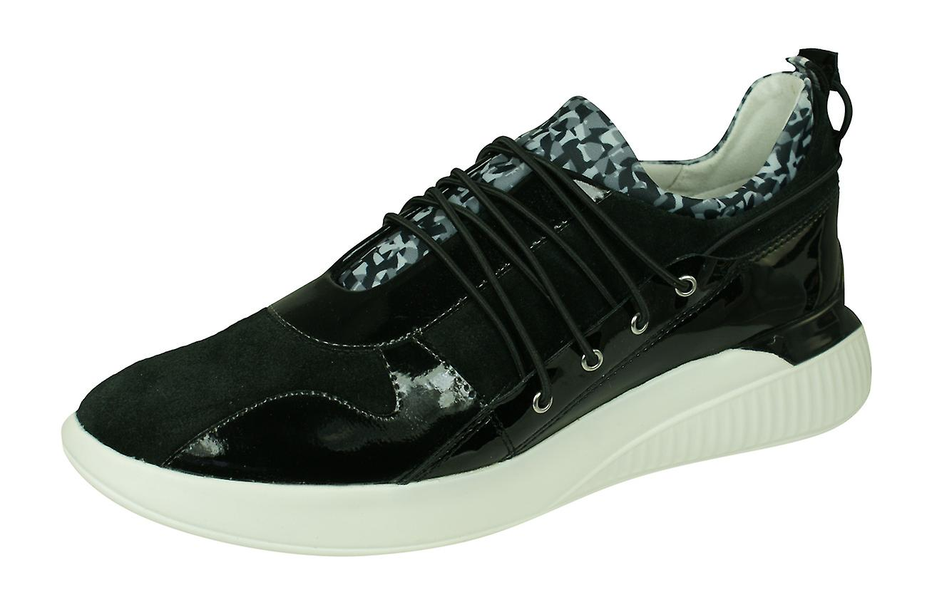 Neupreis anders neue Sachen Geox D Theragon A Womens Suede Trainers / Shoes - Black