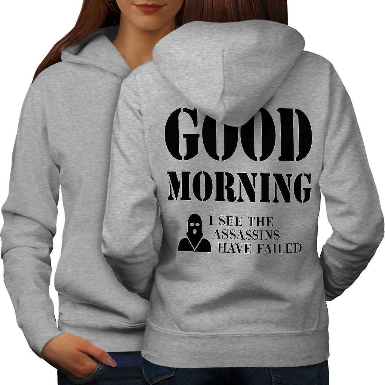 Guten Morgen Frauen Greyhoodie Rücken Wellcoda Fruugo