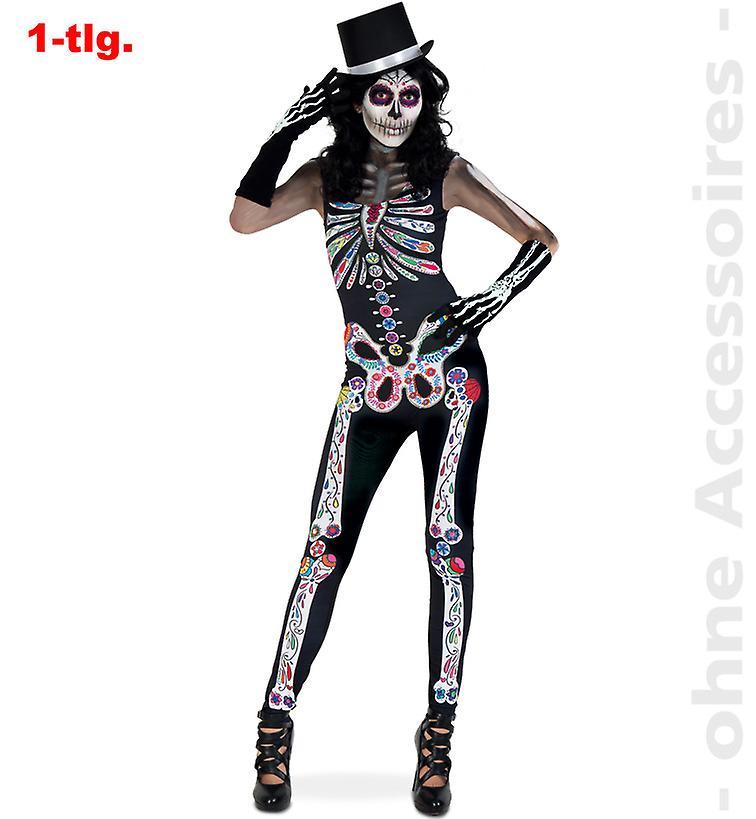 Halloween Kleding Dames.Dag Van De Dode Jumpsuit Halloween Skeleton Jumpsuit Women S Kostuum Dames Kostuum