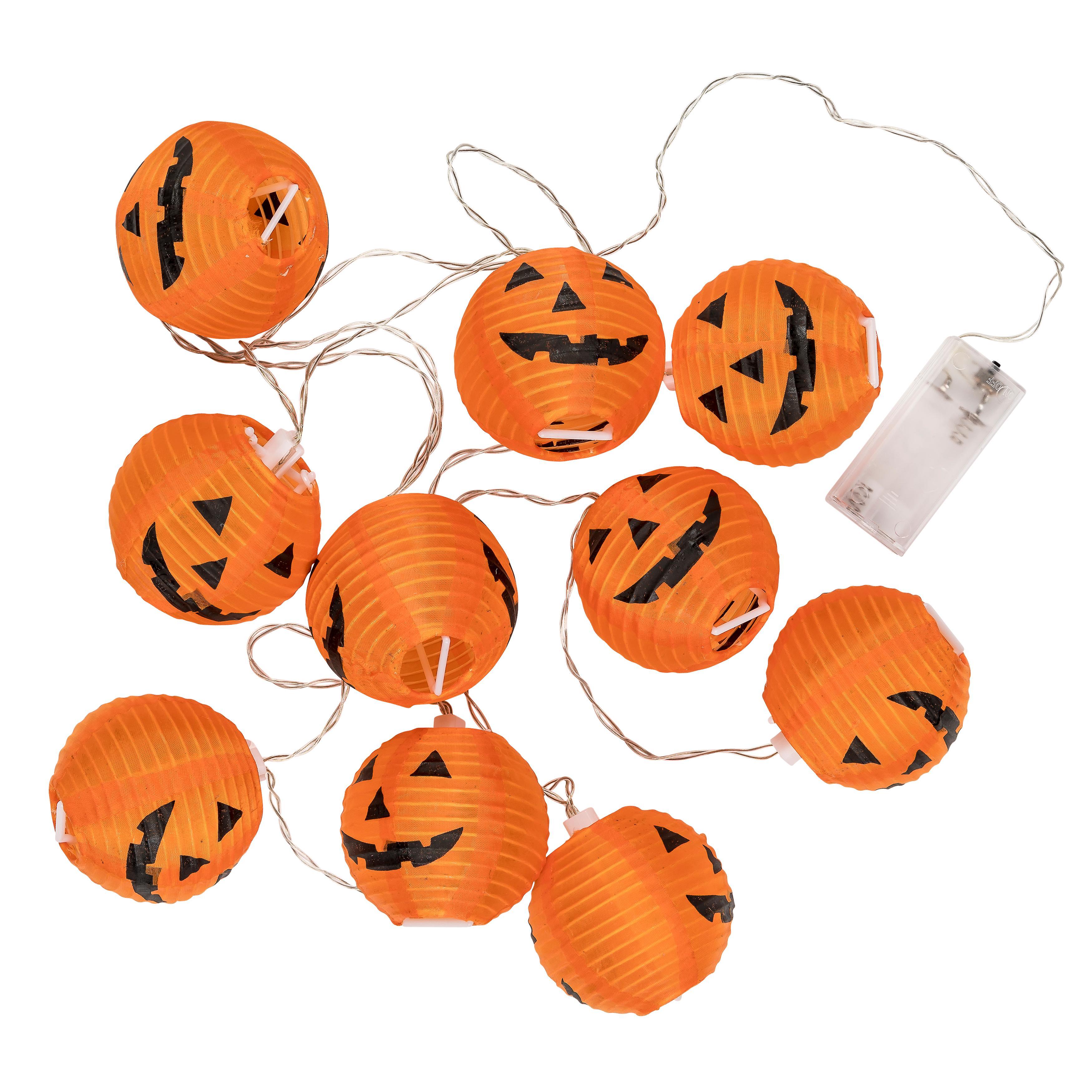 Trixes 1x String With 10 Pumpkin Lantern Halloween Lights 2 3m