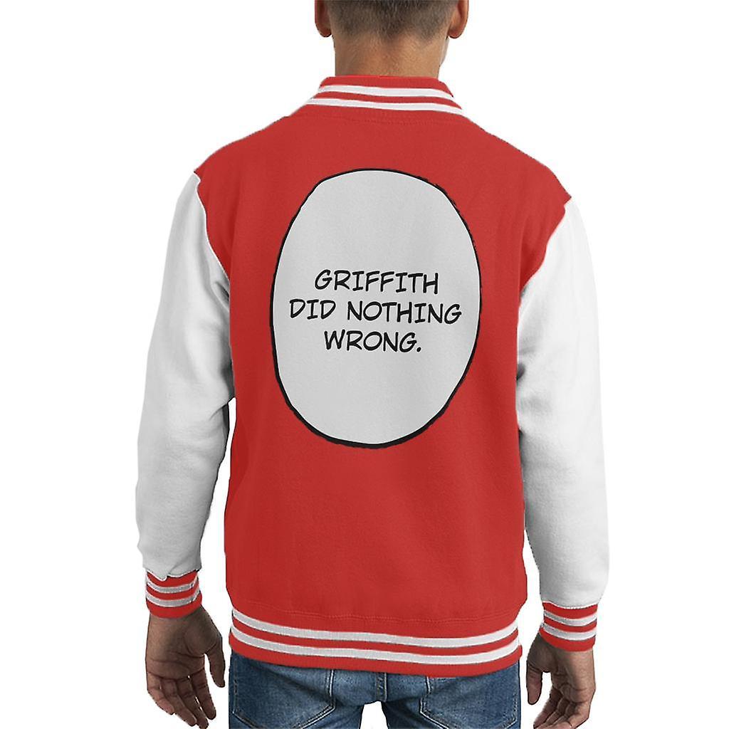 Griffith Did Nothing Wrong Berserk Kid's Varsity Jacket