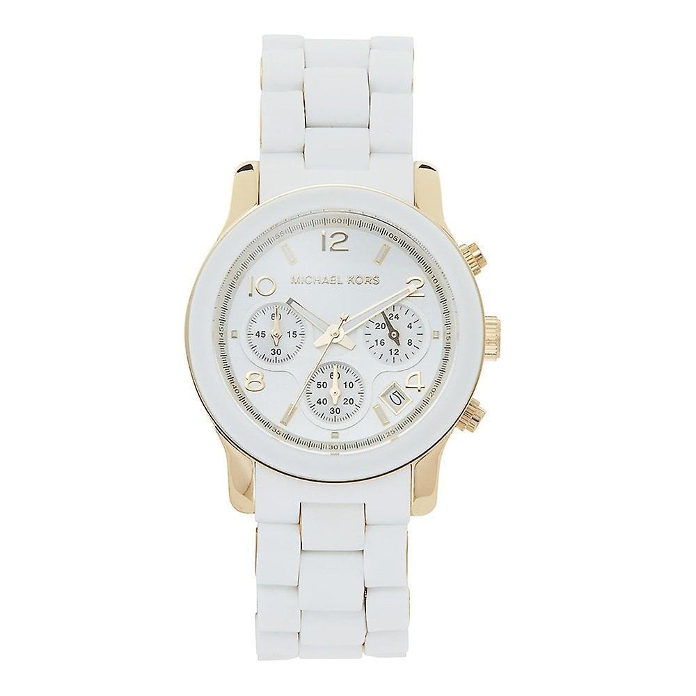 e6d827f2 Michael Kors klokker Mk5145 rullebane Chronograph hvit silikon belagt  rustfritt damer ur