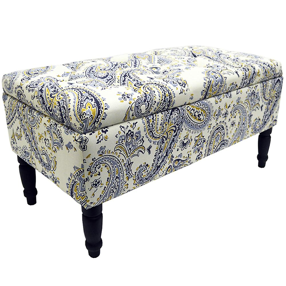 Tremendous Paisley Storage Ottoman Stool Blanket Box Padded Trunk Blue Black Cream Alphanode Cool Chair Designs And Ideas Alphanodeonline