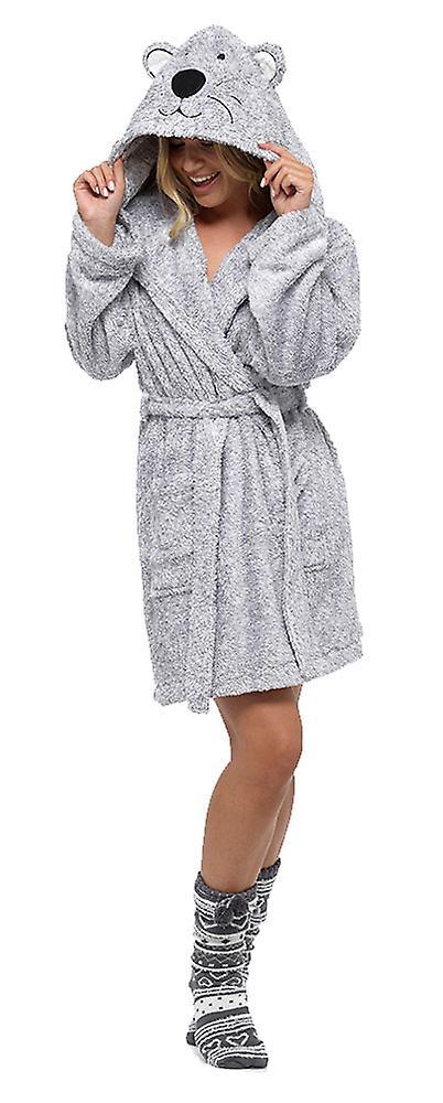 Ladies supermjuk varm Fleece djur Hooded Wrap över badrock morgonrock ecf82e55dacb7