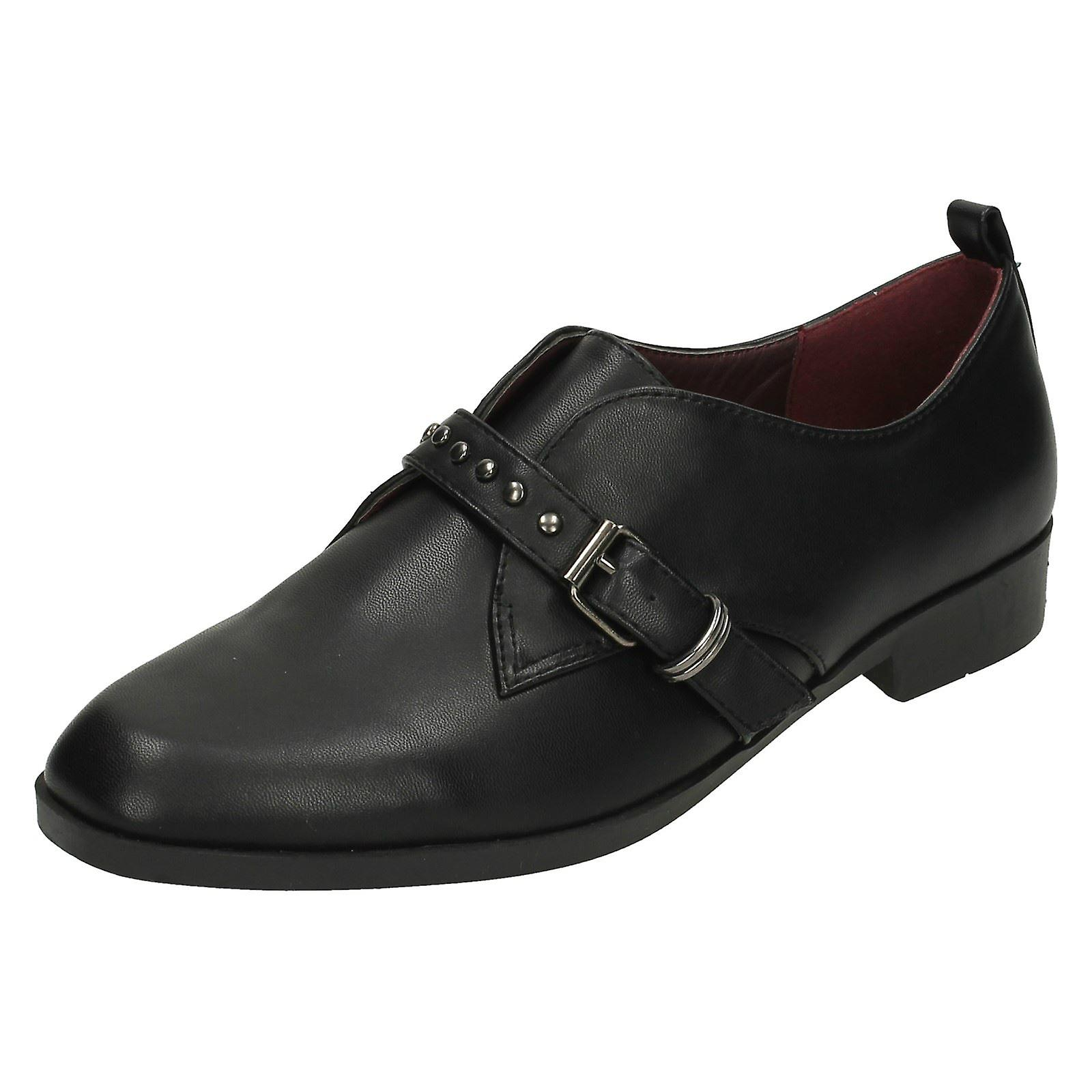 869dd3ec6737 Ladies Spot On Low Heel Buckle Strap Vamp Shoes F80196