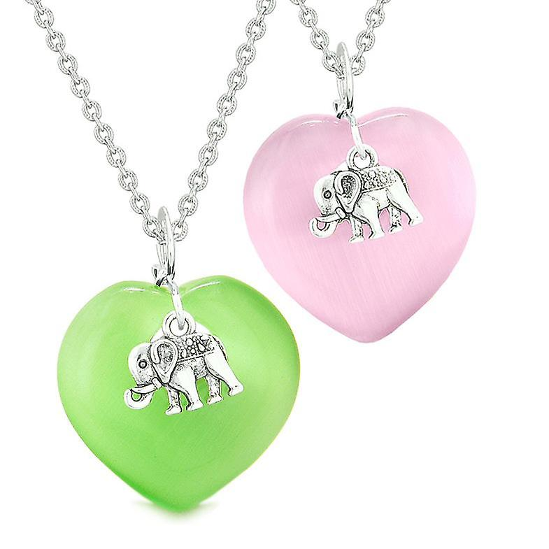 Lucky Elephant Charms Love Couples Best Friends Amulets Pink Green  Simulated Cats Eye Necklaces
