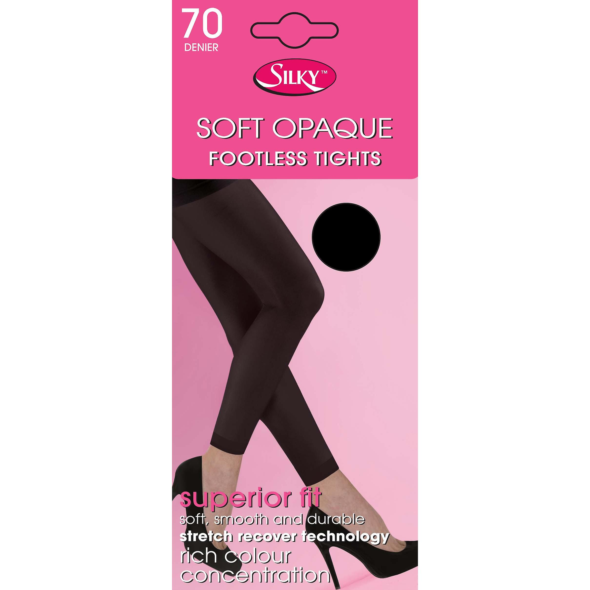 """4 PAIRS LADIES 70 DENIER SOFT OPAQUE TIGHTS WITH LYCRA* BLACK  ONE SIZE 42/"""" HIP"""