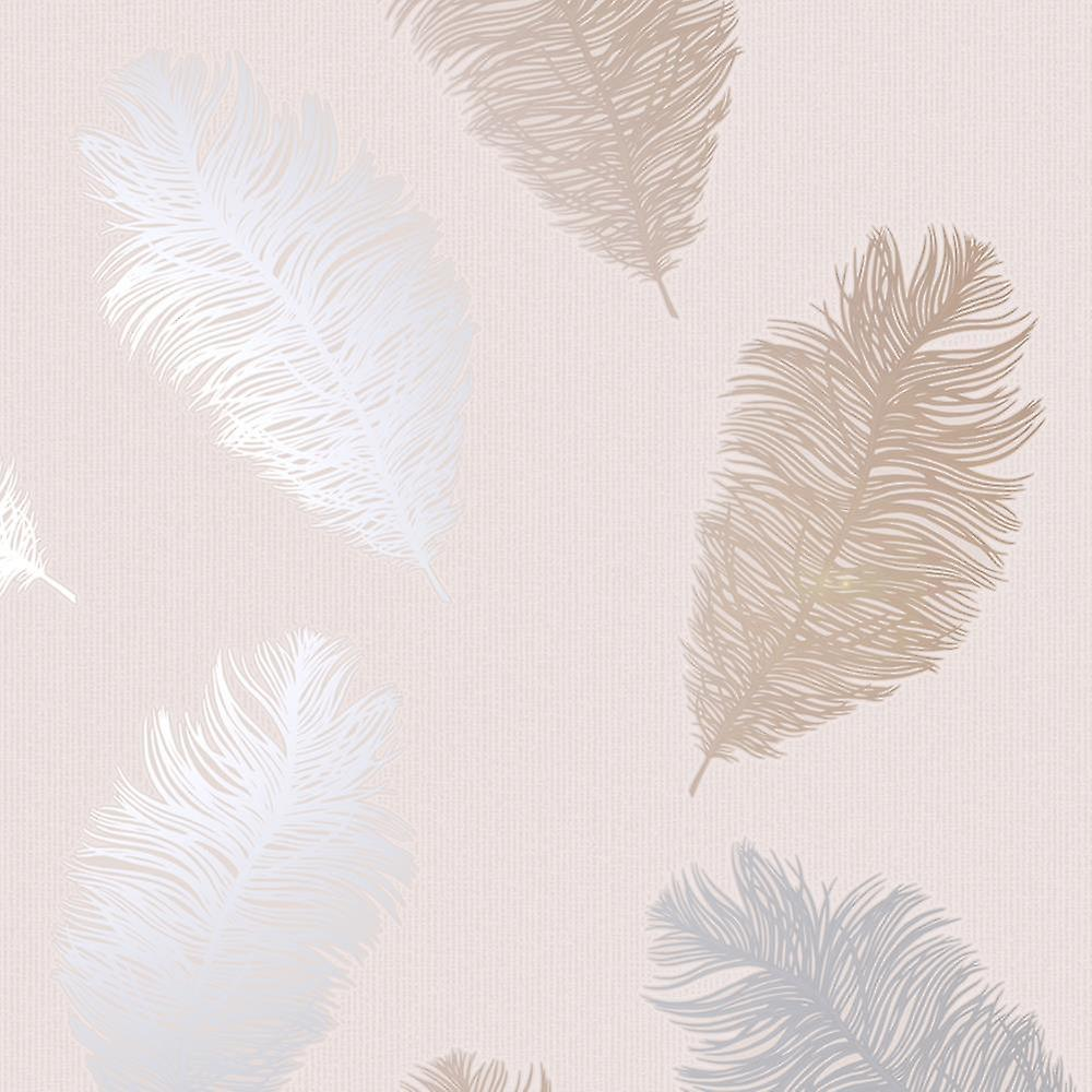 Feathers Wallpaper Glitter Metallic Rose Gold Silver Blush Pink Textured Holden
