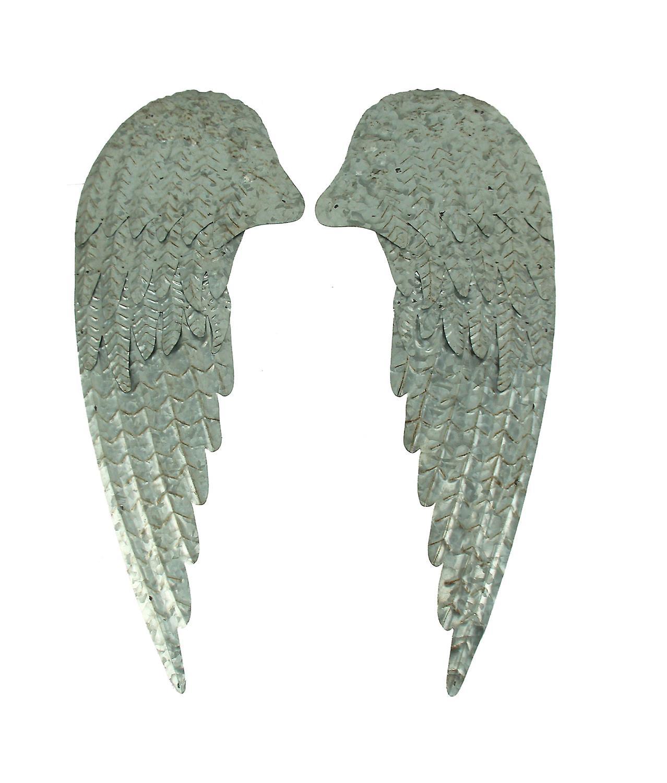 Galvanized Metal Rustic Angel Wings Wall Decor Set