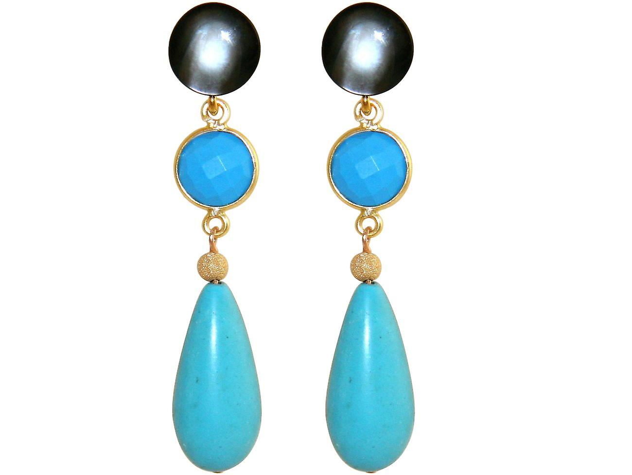 GEMSHINE earring with turquoise gems  Earrings made of 925 Silver or  high-quality gold-plated  Made in Munich, Germany  Delivered in the elegant