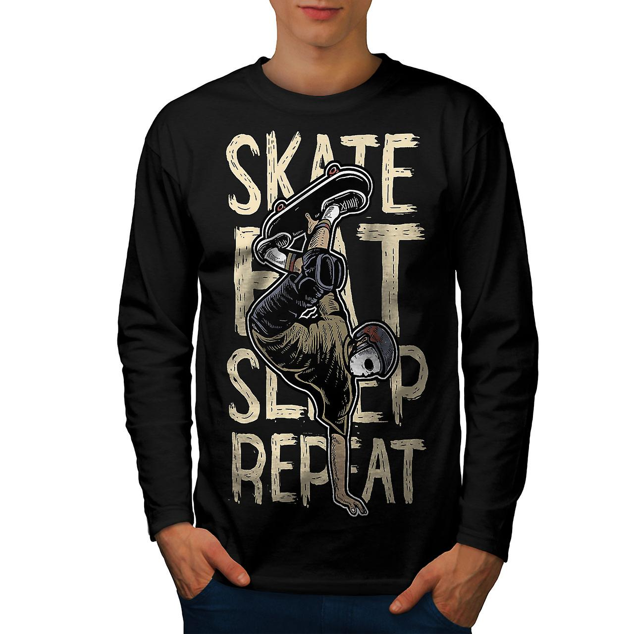 Enterprise Rent A Car Rugby Uk: Skate Eat Sleep Men BlackLong Sleeve T-shirt