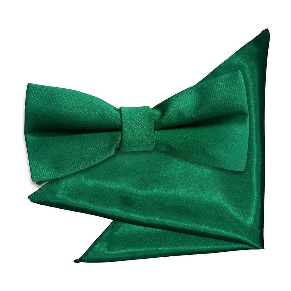 45b3f6cd8beb Emerald Green Plain Satin Bow Tie & Pocket Square Set for Boys ...