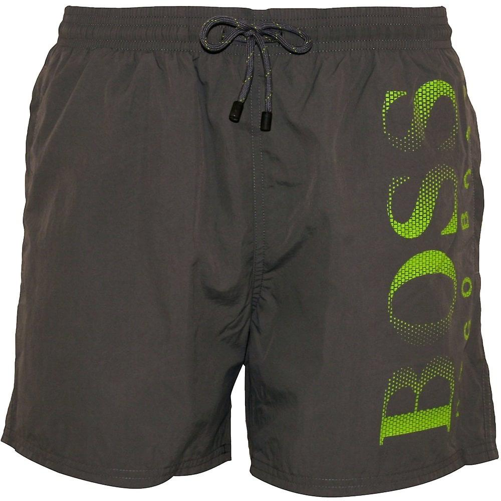 8a0461442e Hugo Boss Octopus Swim Shorts, Grey With Lime Contrast | Fruugo