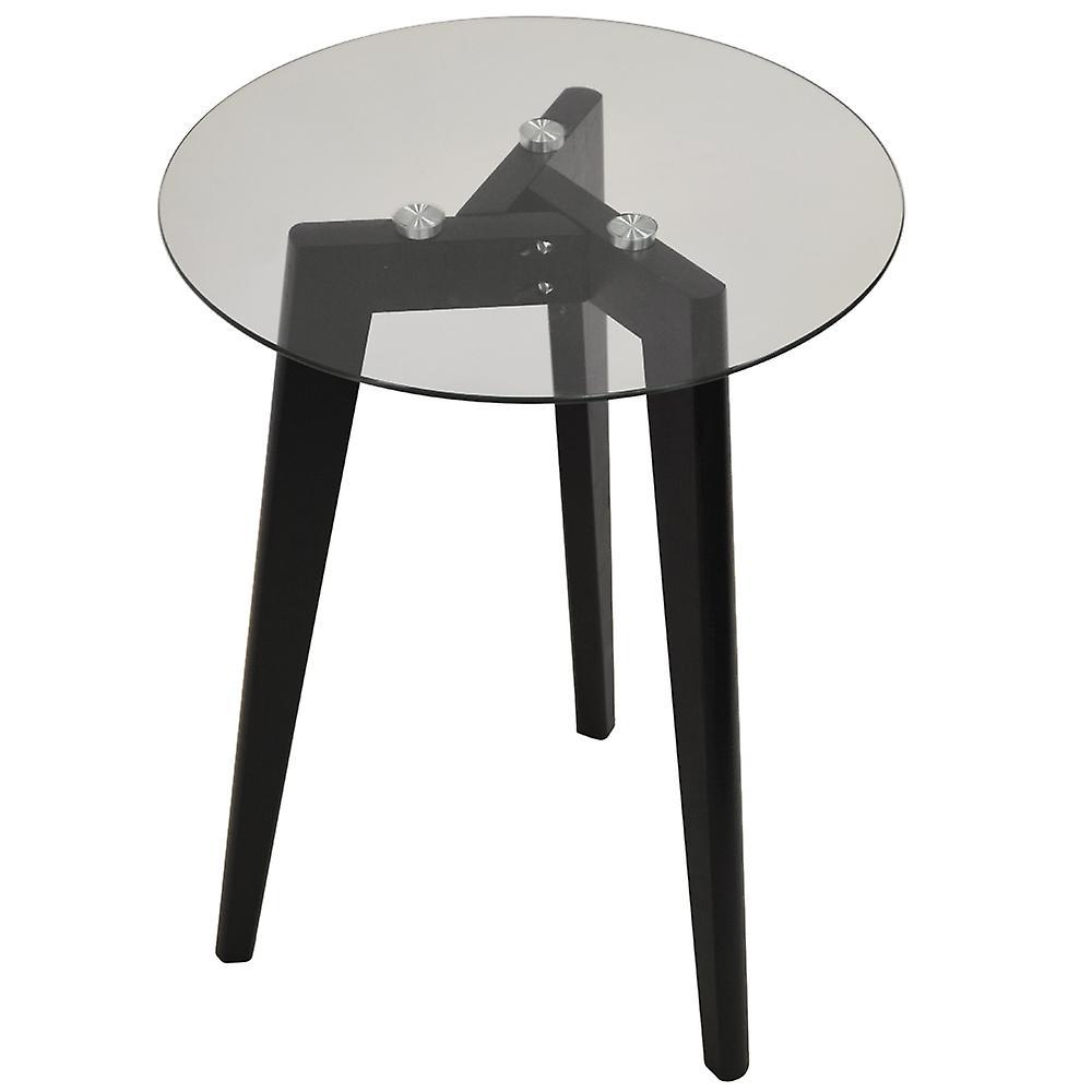 Luna Retro Solid Wood Tripod Leg And Round Glass End Side