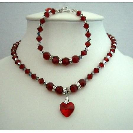 Handgjorda Halsband   armband Swarovski Siam röda kristaller hjärta hänge 95d869d812431