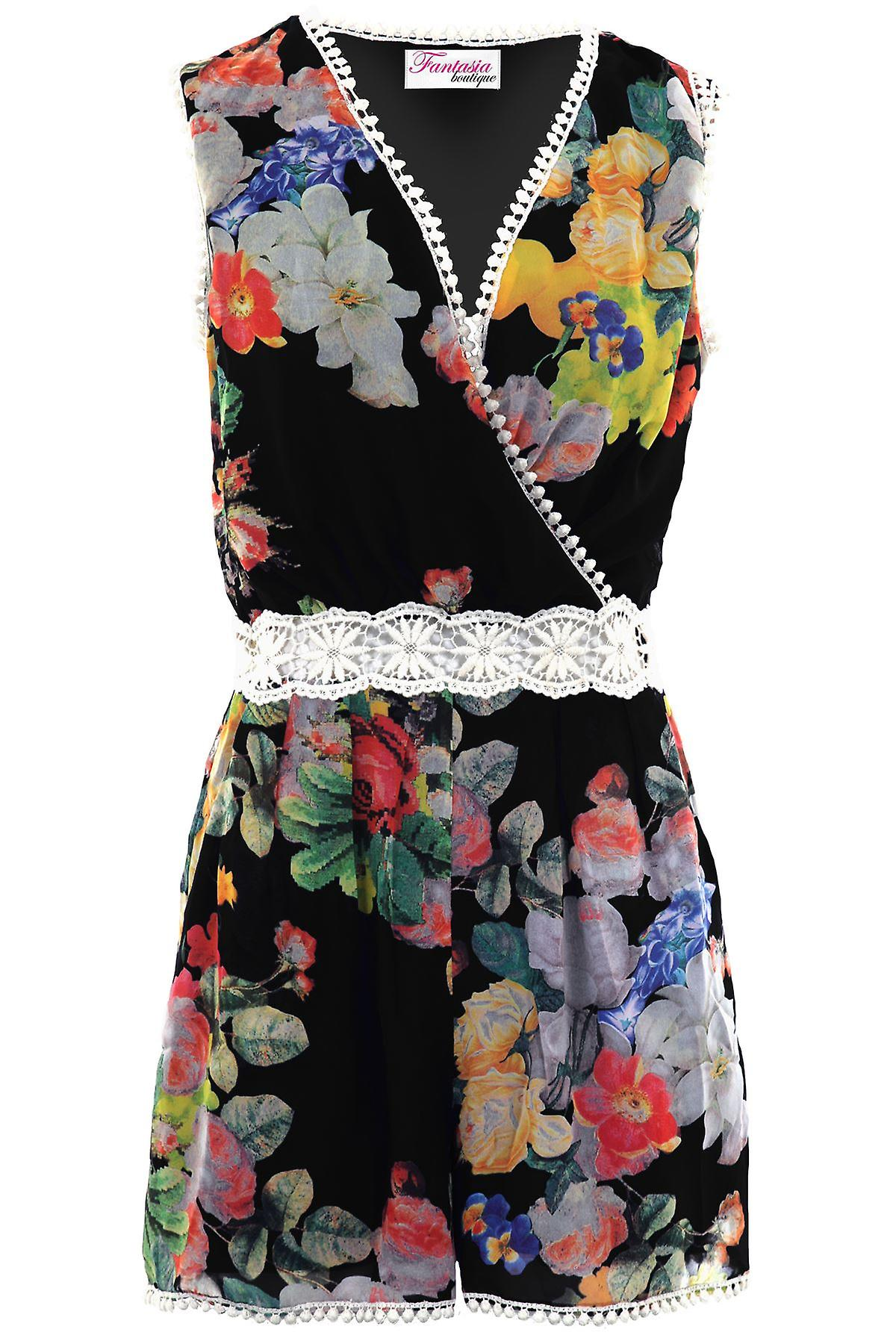 4efc5afa3f4 Ladies Sleeveless Wrap V Neck Floral Crochet Lace Chiffon Lined Playsuit  Romper