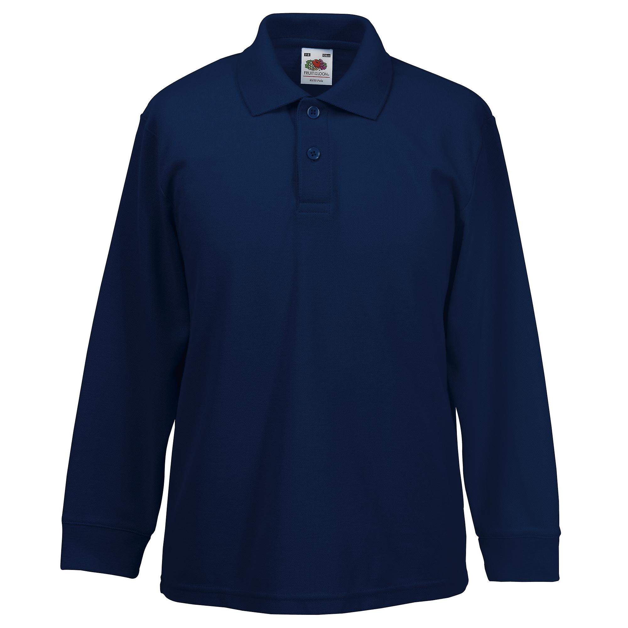 Fruit Of The Loom Childrens Long Sleeve 6535 Pique Polo Childrens
