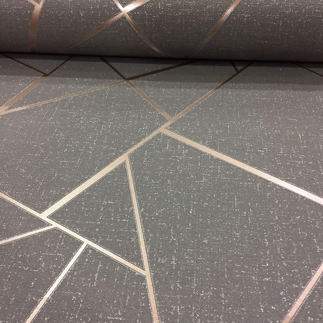 cf528130d4 Ápice papel pintado geométrico lujo textura vinilo brillo metálico fino  decoración gris cobre