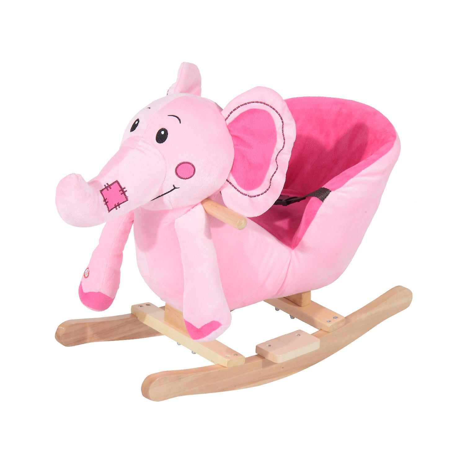 Homcom Children Kids Rocking Horse Toys Plush Elephant Rocker Seat With Sound Toddler Baby Gift Pink