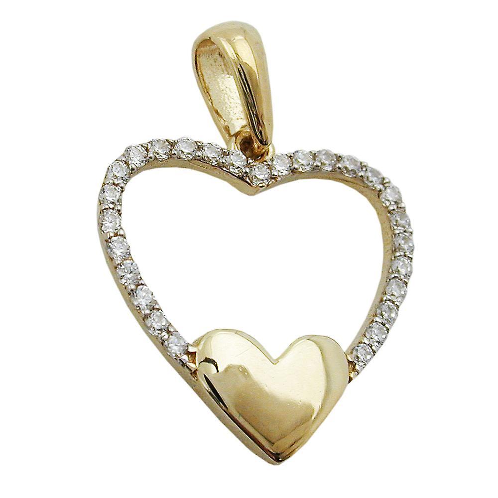 Moderner Herzanhnger Gold 375 Anhnger Herz Zirkonia 9 Kt GOLD
