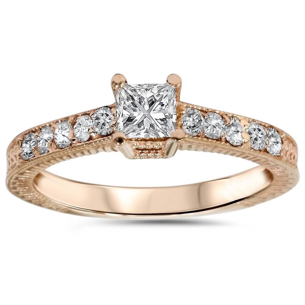 1 2ct Vintage Prinzessin Schnitt Diamant Verlobungsring 14k Rose