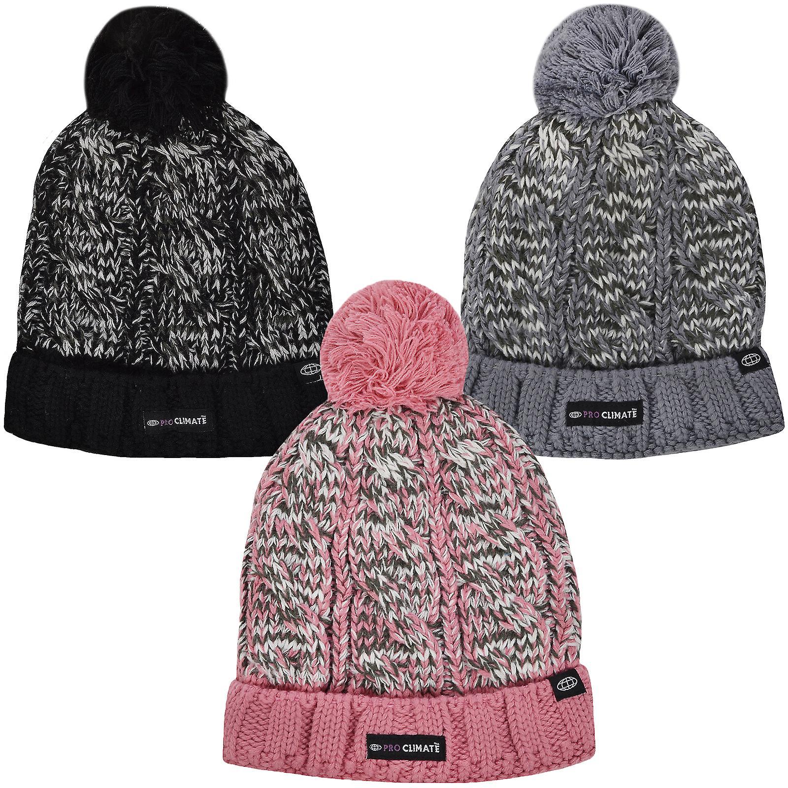 06dda5604a7 ProClimate Waterproof Thinsulate Winter Chunky Knit Pom Bobble Hat Beanie