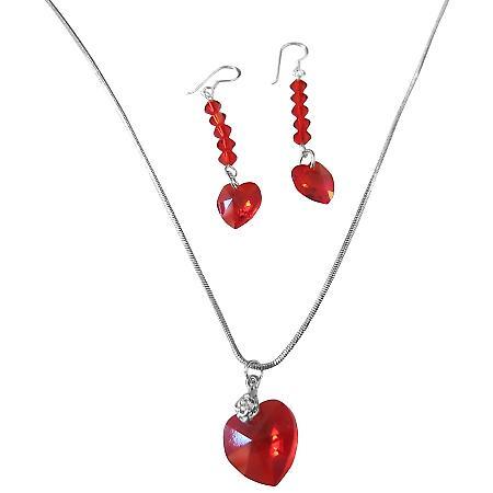 Röd Siam kristaller hjärta hänge   örhängen Swarovski hjärta  f2655831fcdbd