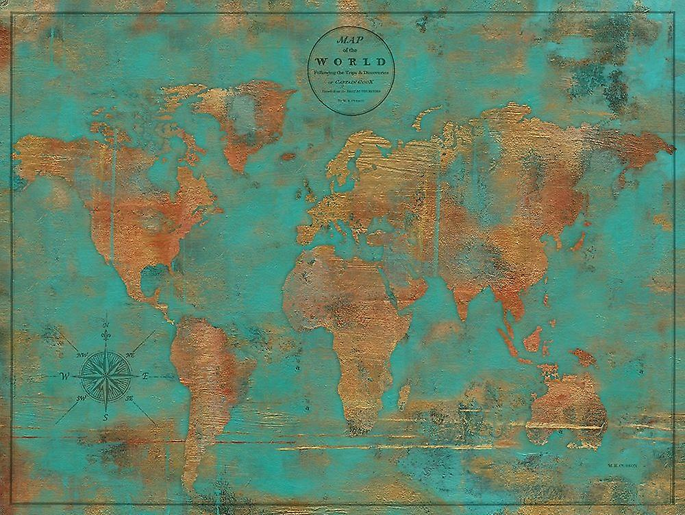 Rustic World Map Poster Print By Marie Elaine Cusson Fruugo
