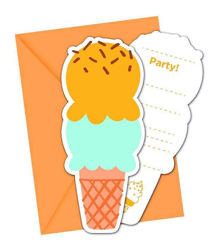 Ice Cream Ice Cream Party Invitation Cards 6 Piece Children Birthday Theme Party