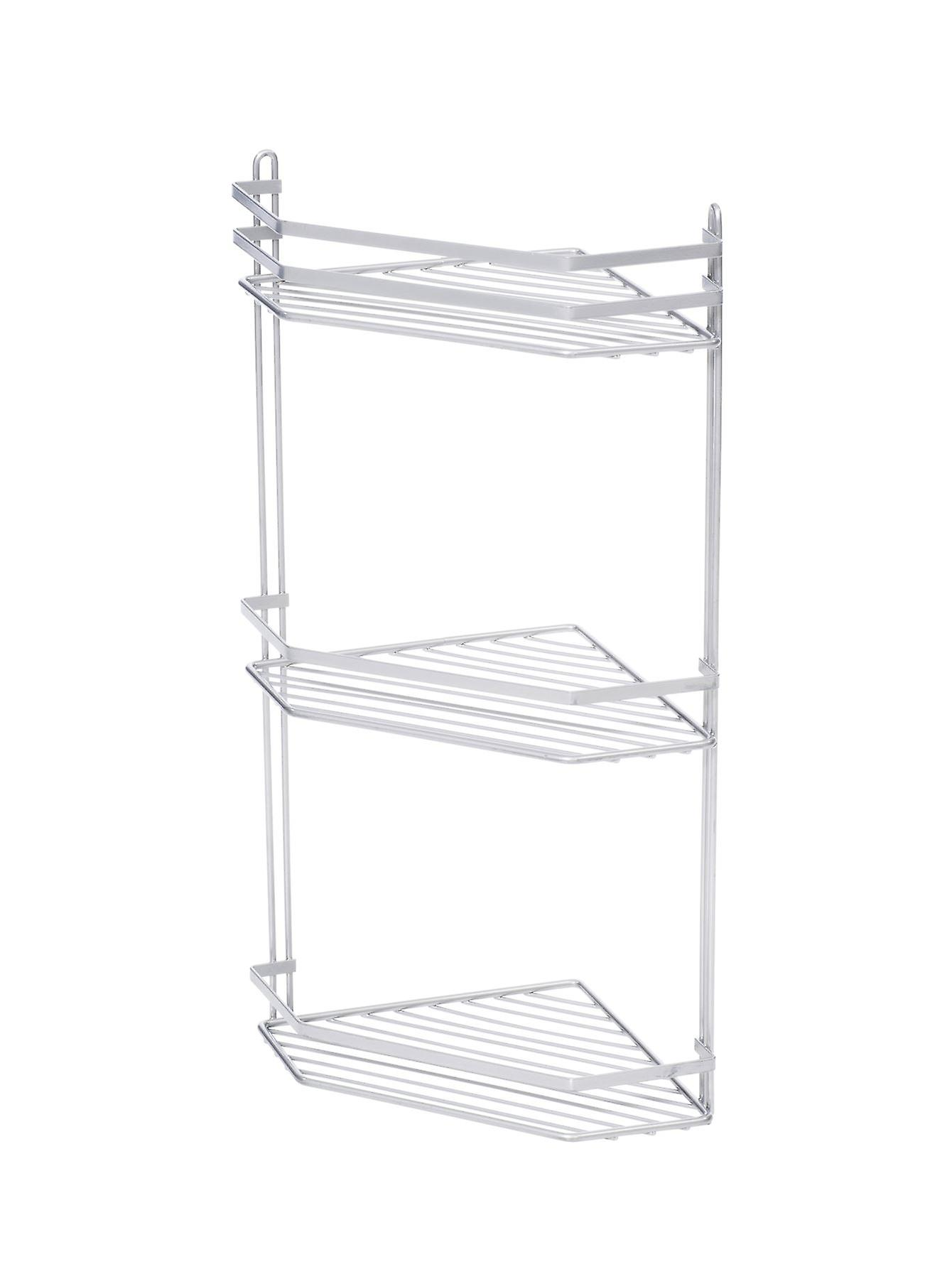 3 Tier Corner Shower Caddy Metallic Effect Rust Proof Coating In Silver