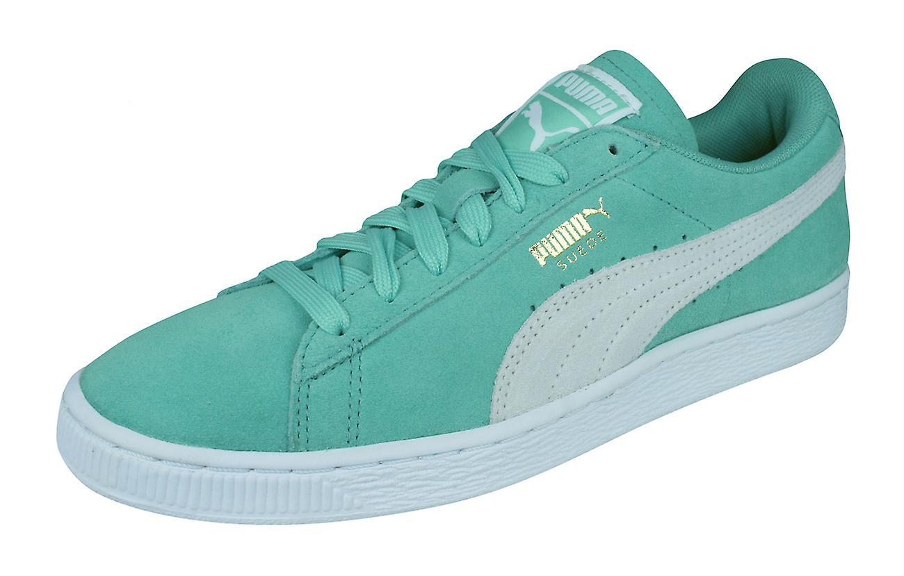 Puma Suede Classic Damen Trainer Schuhe grün und weiß