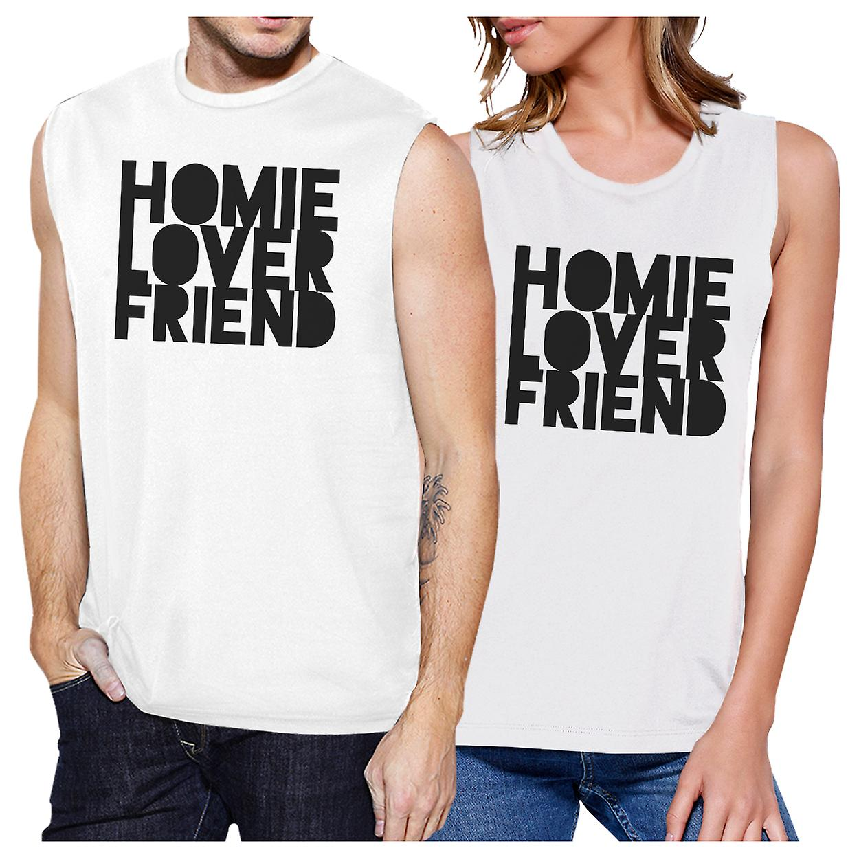 3c58ed9176 Homie Lover Friend Couples Matching Muscle Tank Tops White Cotton ...