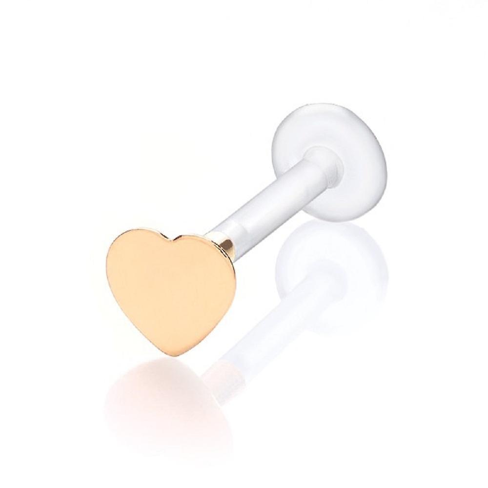 Labret Bar Stud Monroe Tragus Piercing Bioflex 9 Ct Yellow Gold Heart