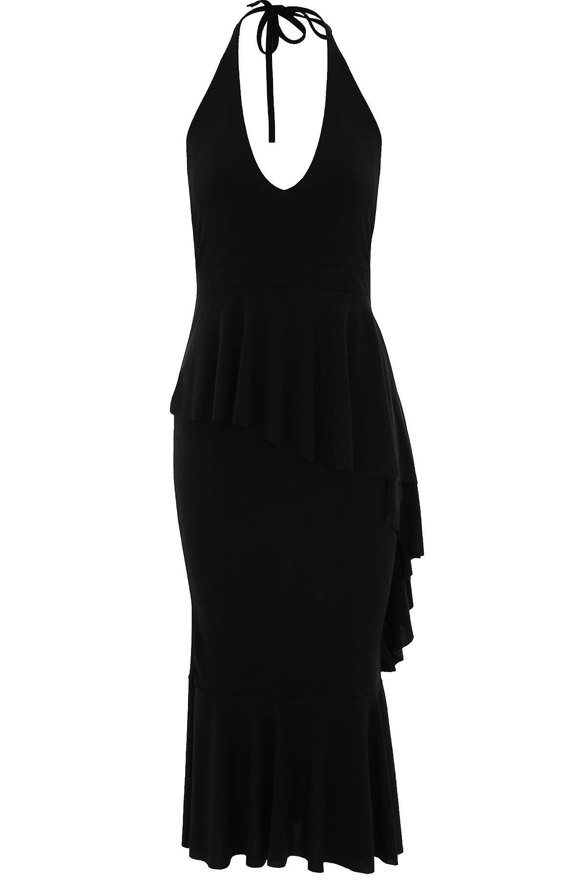 Rüschen Celeb Mermaid Neckholder Ruffle Kleid Slinky Damen Plunge asymmetrisch Kim XiTuwOkZP