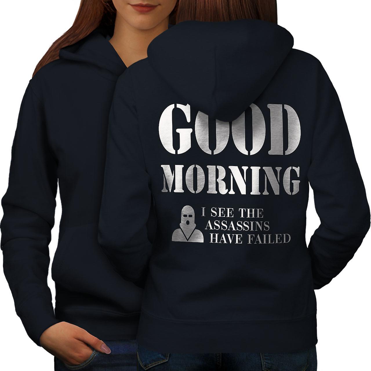 Guten Morgen Frauen Navyhoodie Rücken Wellcoda