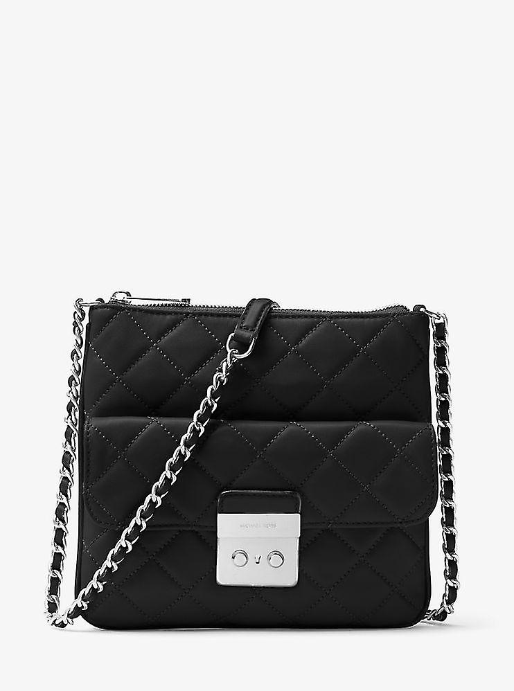 f92057e3521a Michael Kors Sloan Medium Quilted-Leather Crossbody Bag - Black -  30F6ASLM2L-001