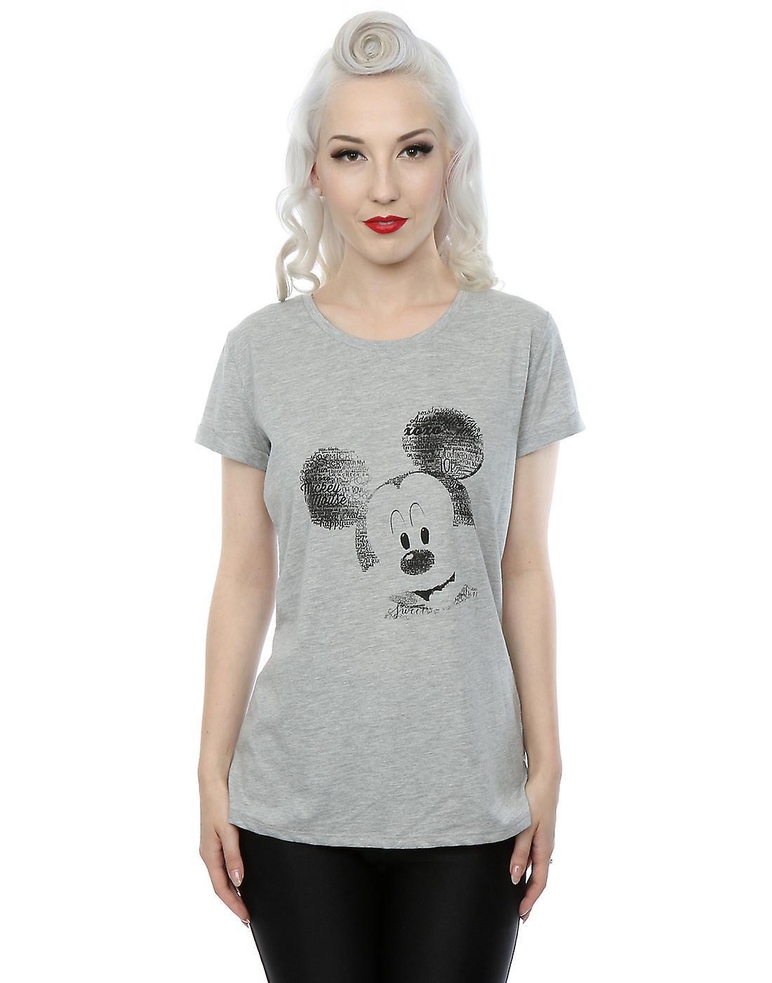 27a3174d Disney Women's Mickey Mouse Text Face Roll Sleeve T-Shirt | Fruugo
