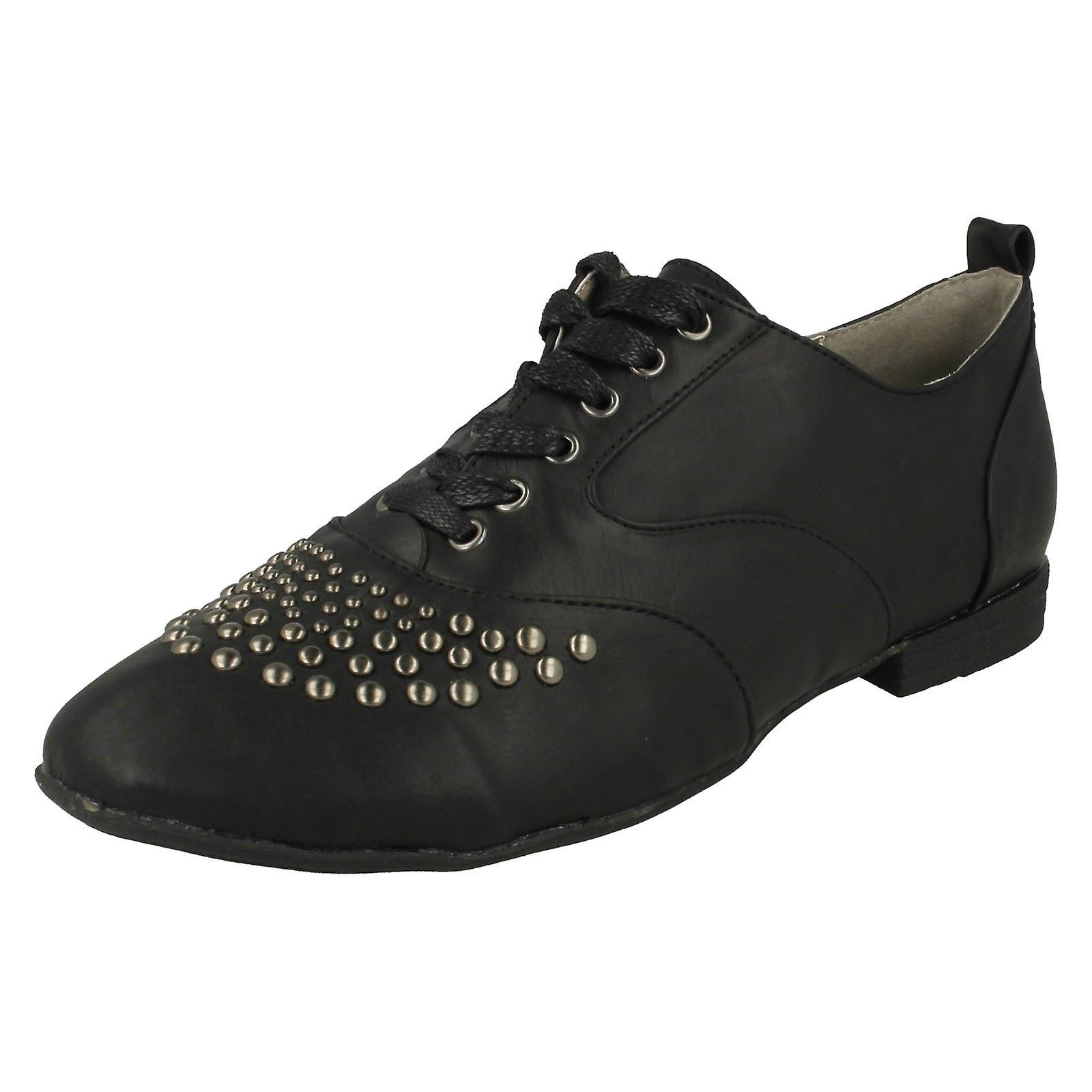 Kære Anne Michelle blonder op flade Casual sko med Metal Stud Trim l4940