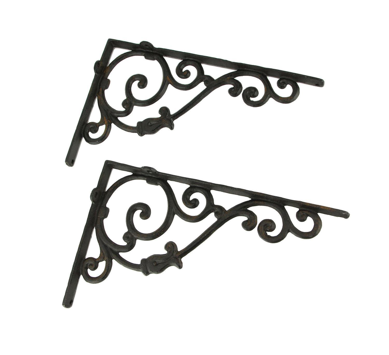 Rustic Brown Cast Iron Scroll Wall Shelf Bracket Set Of 2