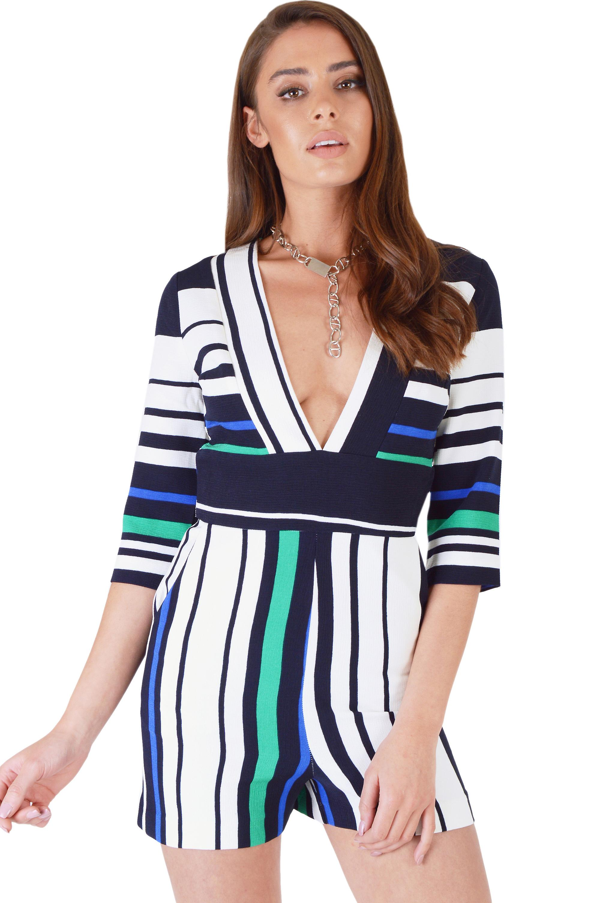 d9e2e5cdc40 Lavish Alice White Playsuit With Blue And Green Stripes