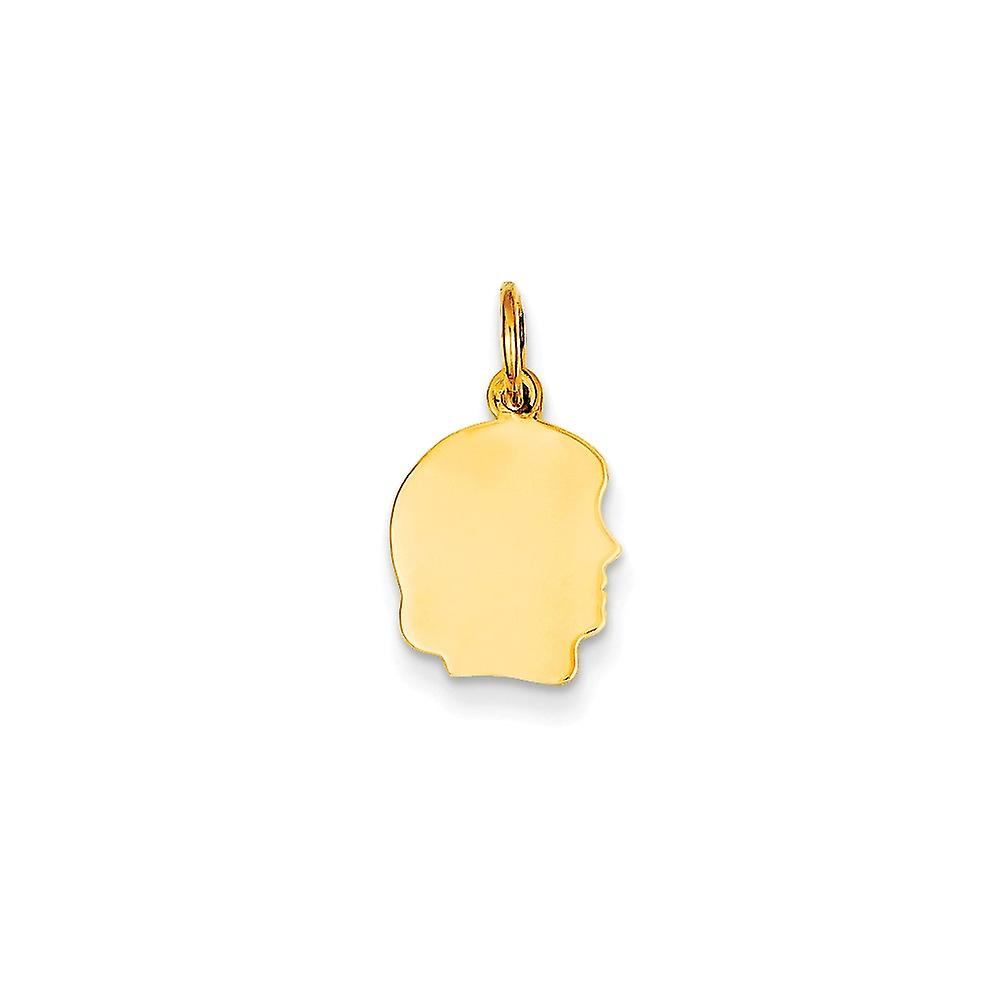 14k Yellow Gold Large 0.027 Ga Facing Right Engravable Girl Head Charm Pendant