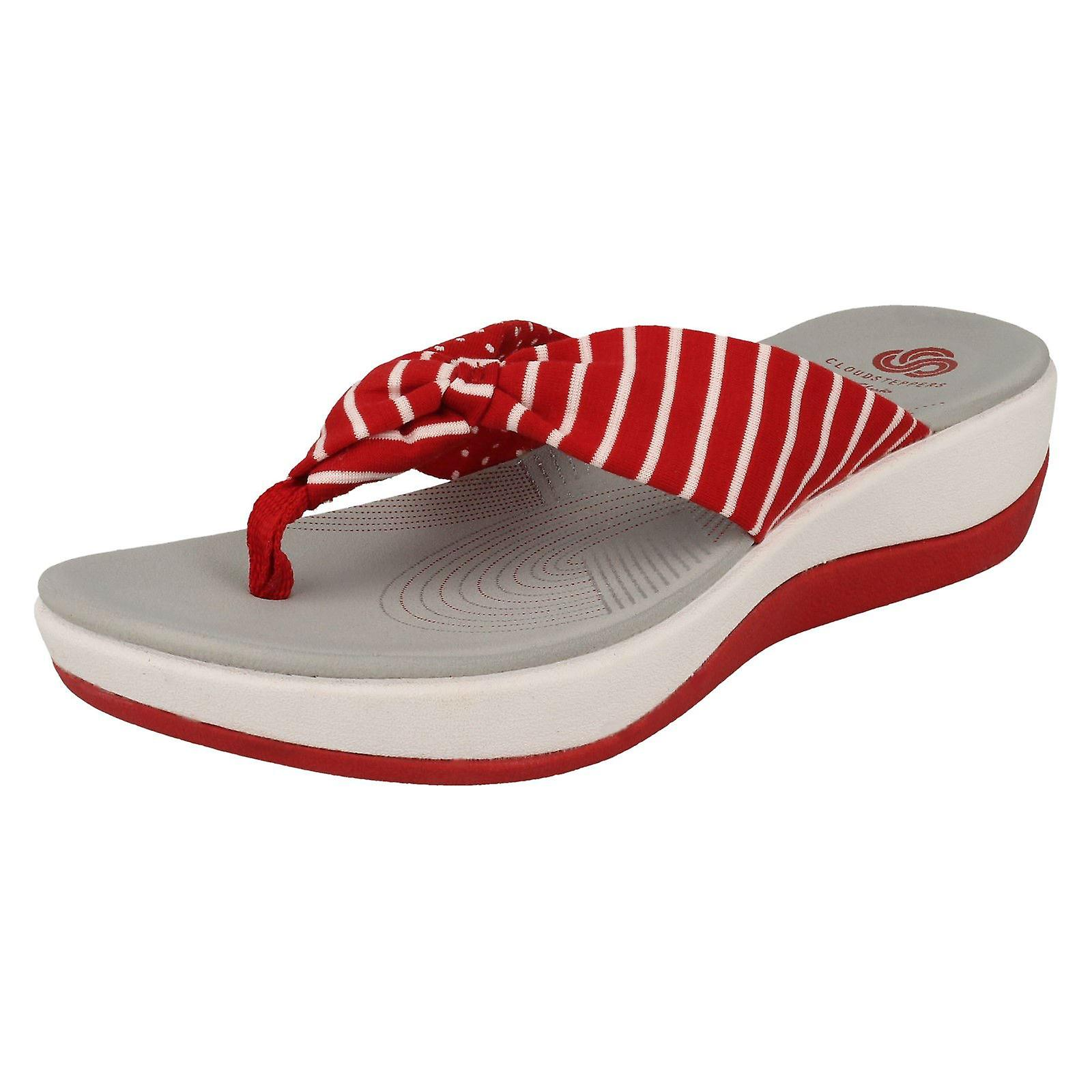 Ladies Clarks Cloudsteppers Toe Post Summer Sandals Arla Glison - Red Combi  Textile - UK Size