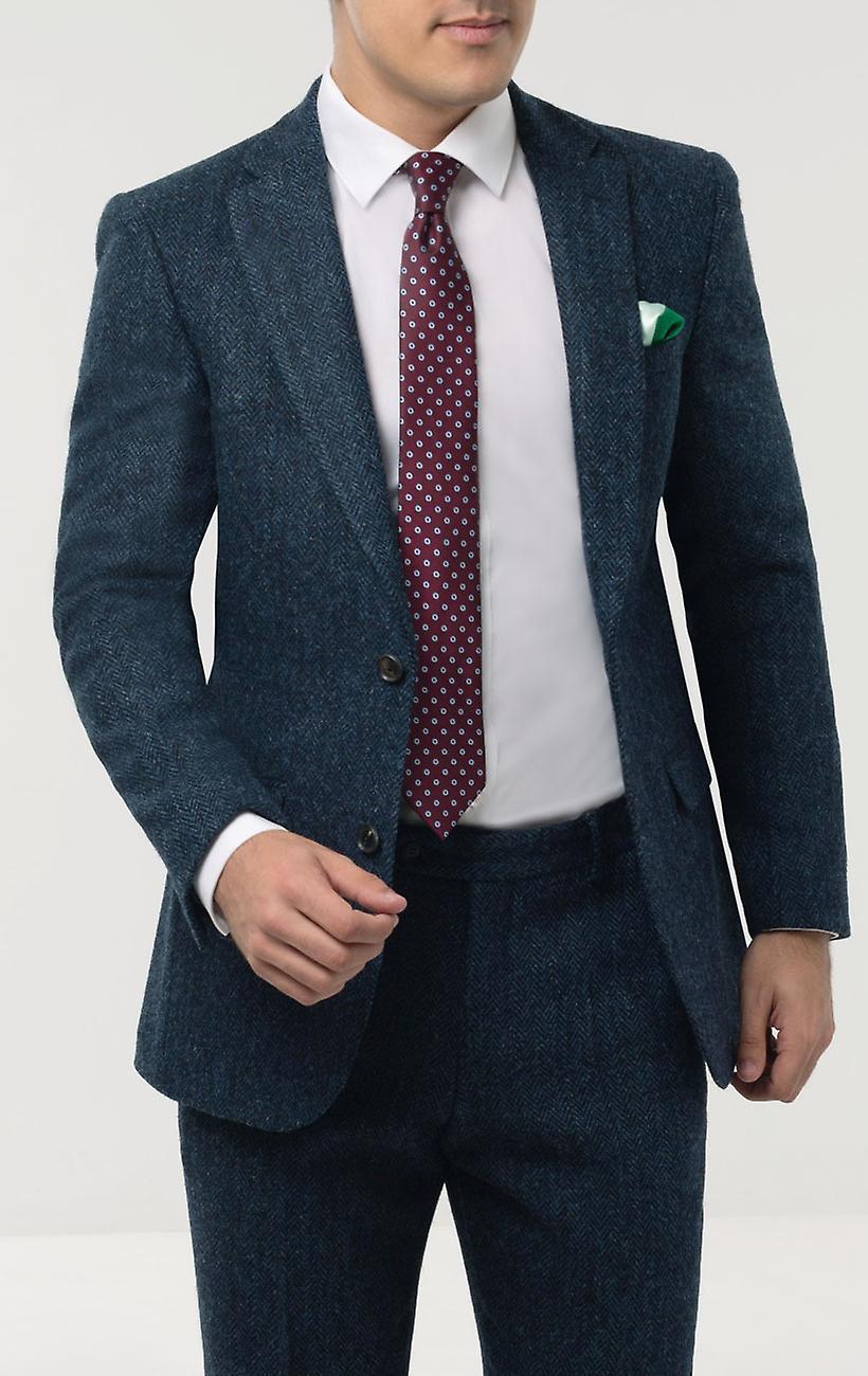 Skotsk Harris Tweed Herre blå jakkesæt jakke Regular fit 100% uld sildeben