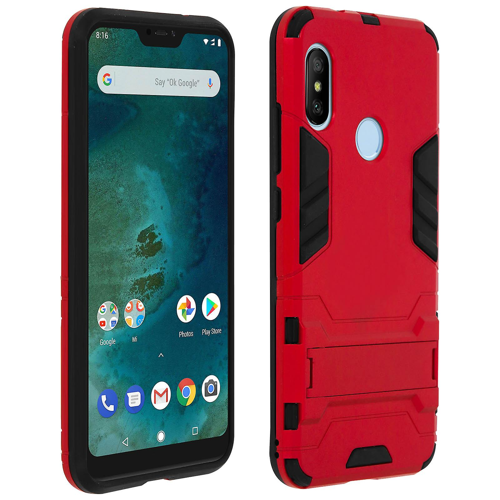 buy popular c6d2e 92cdf Silicone case, shockproof cover for Xiaomi Mi A2 Lite with kickstand - Red
